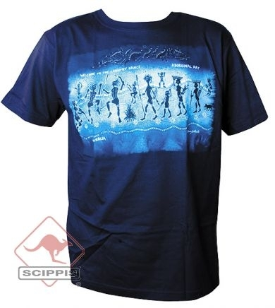T-Shirt Aboriginal Dance blau