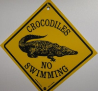Warnschild Crocodiles No Swimming