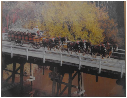 Blechschild Clydesdale horsedrawn Beer Cart on Bridge