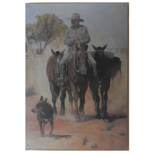 Blechschild Aussie Stockman with Packhorses