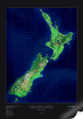 Neuseeland Satellitenbildkarte (NZ) plan