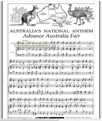 Tea Towel National Anthem Australia