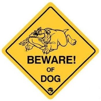 Aufkleber Warnschild Beware of Dog ca. 8½ x 8½cm