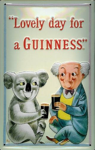 Blechschild Lovely Day for a Guiness mit Koala ca. 20x30cm