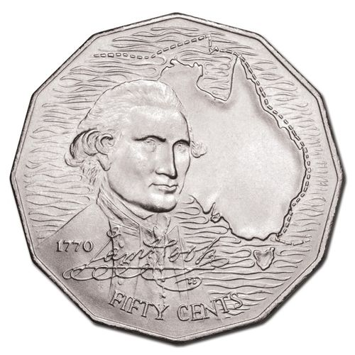 50c Münze Australien 200 Years Captain Cook 1970