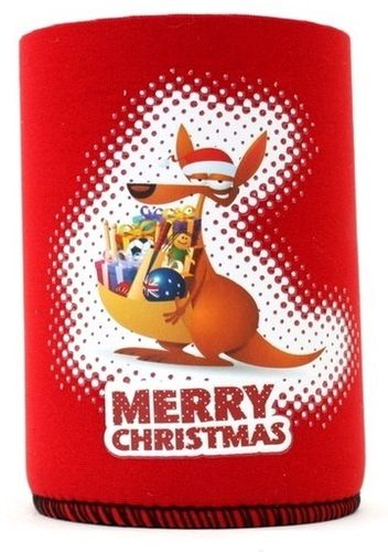 Stubby Holder Merry Christmas Kangaroo